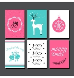 Christmas greeting card collection vector