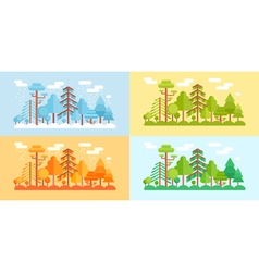Flat style forest scenery four stylized seasons vector