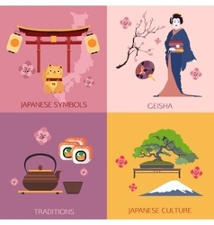 Set of japan travel compositions with place for vector