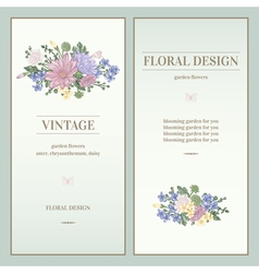 Set of two invitations in vintage style vector