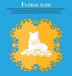 Roller skate icon floral flat design on a blue vector