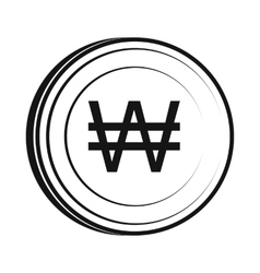 Won icon simple style vector image