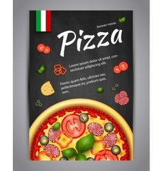 Realistic vertical pizza blackboard flyer vector image