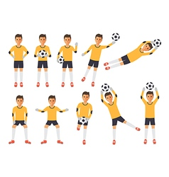 Soccer players football goalkeeper in actions vector