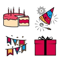 Birthday party celebration icons set vector