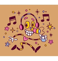 Abstract music character with headphones vector
