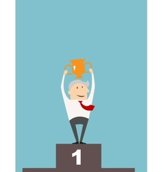 Businessman with cup on a winners podium vector image