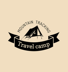camp logo tourism sign with hand drawn vector image vector image