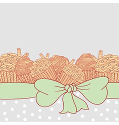 Card with muffins tied with ribbon and bow vector image