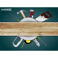 Carpentry tools with wood plank vector