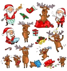 Christmas characters - set vector image vector image