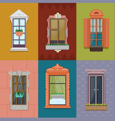 Colorful windows set vector