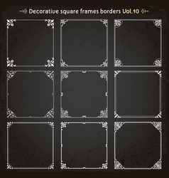 decorative square frames and borders set 10 vector image