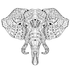 Elephant head doodle on white sketch vector
