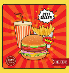 Fast food comic style poster vector