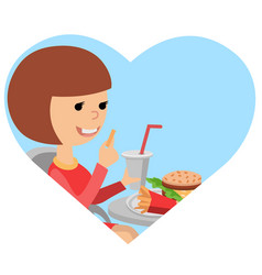 Girl with fast food in his hands vector