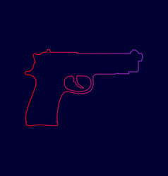 Gun sign line icon with vector