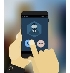 Hand answering to call on mobile device vector image vector image