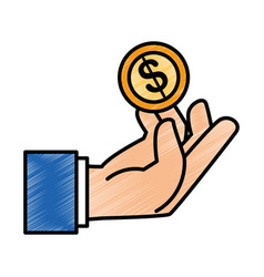 Hand human with coin money isolated icon vector