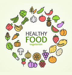 healthy foods eco shop color round design template vector image vector image