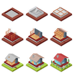 isometric 3d set construction stages of house vector image vector image