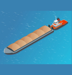 Isometric barge on a river very large ship vector