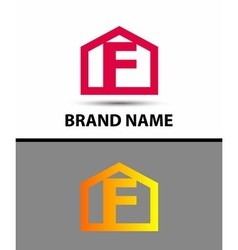 Letter f logo with home icon vector