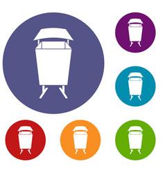Litter waste bin icons set vector