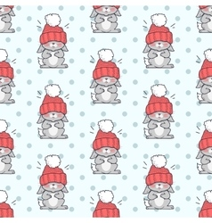 Little rabbit in big red hat seamless pattern vector