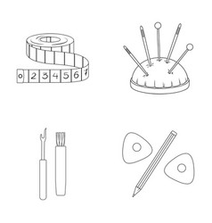 Measuring tape needles crayons and pencilsewing vector