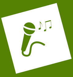 Microphone sign with music notes white vector
