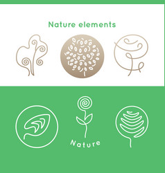 nature icons elements vector image