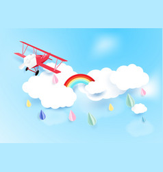 Paper art style airplane flying on sky with cloud vector