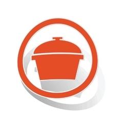 Pot sign sticker orange vector image vector image
