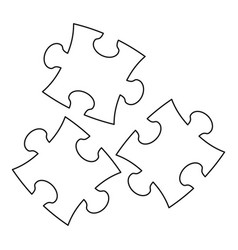 Puzzle icon outline style vector