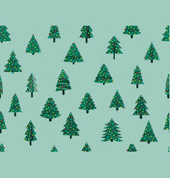 seamless pattern with christmas trees in a flat vector image vector image