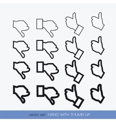 Set hand with thumb up 1 vector image