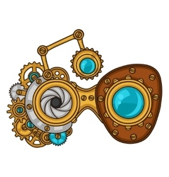 Steampunk glasses collage of metal gears in doodle vector