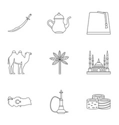 Turkey stuff icons set outline style vector
