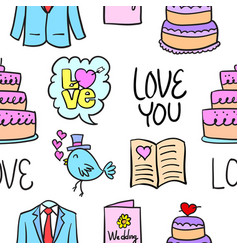 Wedding colorful doodle style collection vector
