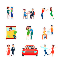 wife husband responsibilities icon set vector image vector image