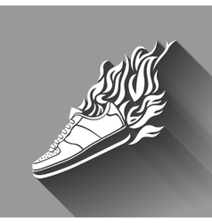 with silhouette of running shoe icon background vector image