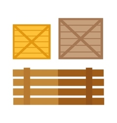 Wooden Boxes in Flat Design vector image