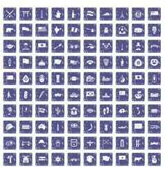 100 national flag icons set grunge sapphire vector