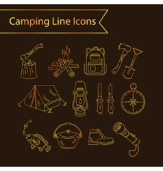 Camping holiday line icons vector