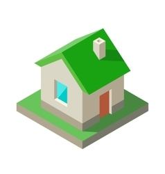 Isometric eco green house icon logo vector