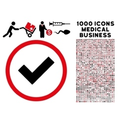 Accept Rounded Icon With Medical Bonus vector image