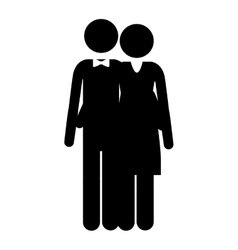 Pictogram husband and wife embraced vector