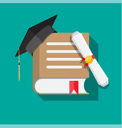 Paper diploma with stamp book and graduation cap vector