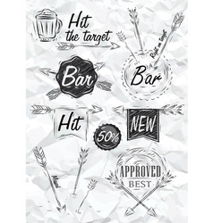 Set emblem of bar boom arrow crumpled paper vector